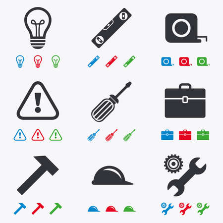 construction helmet: Repair, construction icons. Engineering, helmet and screwdriver signs. Lamp, electricity and attention symbols. Flat black, red, blue and green icons.