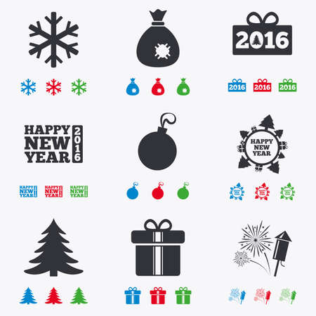 salut: Christmas, new year icons. Gift box, fireworks and snowflake signs. Santa bag, salut and decoration ball symbols. Flat black, red, blue and green icons. Illustration