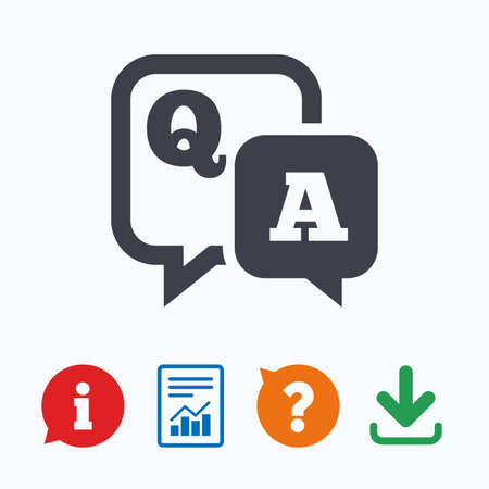 qa: Question answer sign icon. Q&A symbol. Information think bubble, question mark, download and report. Illustration