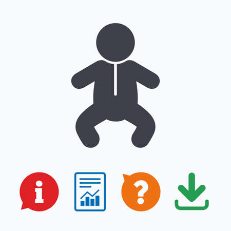 crawlers: Baby infant sign icon. Toddler boy in pajamas or crawlers body symbol. Child WC toilet. Information think bubble, question mark, download and report. Illustration