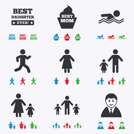 black family: People, family icons. Swimming pool, person signs. Best mom, father and mother symbols. Flat black, red, blue and green icons.