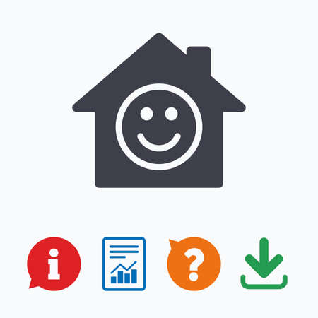 comedy: Comedy club. Smile icon. Happy face chat symbol. Information think bubble, question mark, download and report.