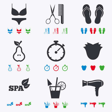 scissors comb: Hairdresser, spa icons. Diet cocktail sign. Lingerie, scissors and hairdryer symbols. Flat black, red, blue and green icons.