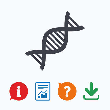 deoxyribonucleic: DNA sign icon. Deoxyribonucleic acid symbol. Information think bubble, question mark, download and report. Illustration