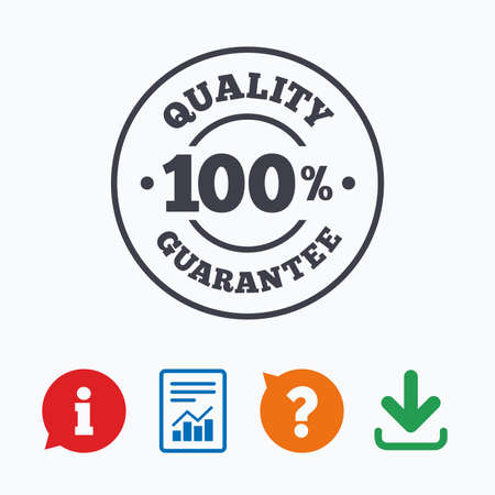 warranty questions: 100% quality guarantee sign icon. Premium quality symbol. Information think bubble, question mark, download and report.