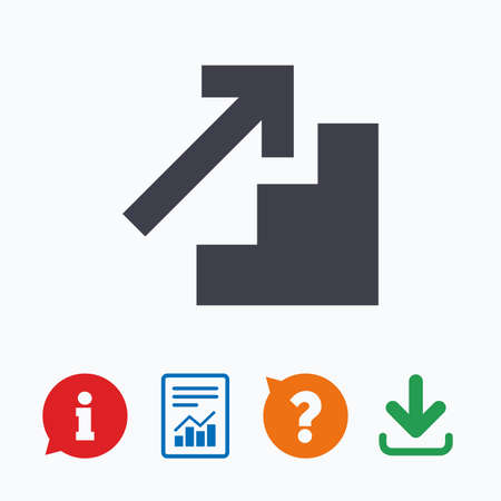 think up: Upstairs icon. Up arrow sign. Information think bubble, question mark, download and report.