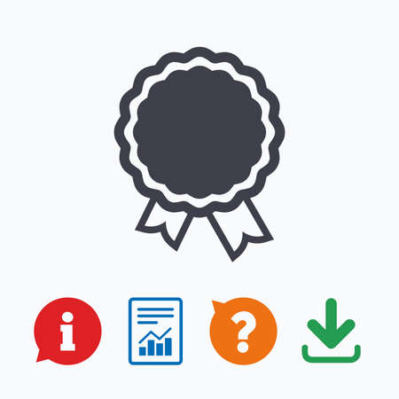award winning: Award icon. Best guarantee symbol. Winner achievement sign. Information think bubble, question mark, download and report. Illustration