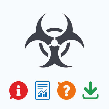 biohazard sign: Biohazard sign icon. Danger symbol. Information think bubble, question mark, download and report.
