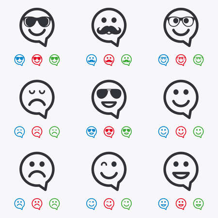 lol: Smile speech bubbles icons. Happy, sad and wink faces signs. Sunglasses, mustache and laughing lol smiley symbols. Flat black, red, blue and green icons.