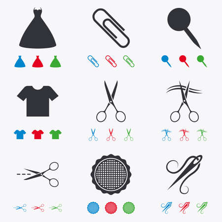 canva: Tailor, sewing and embroidery icons. Scissors, safety pin and needle signs. Shirt and dress symbols. Flat black, red, blue and green icons.