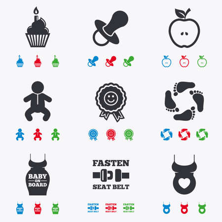 green footprint: Pregnancy, maternity and baby care icons. Apple, award and pacifier signs. Footprint, birthday cake and newborn symbols. Flat black, red, blue and green icons. Illustration