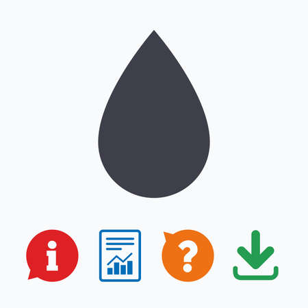 tear: Water drop sign icon. Tear symbol. Information think bubble, question mark, download and report.