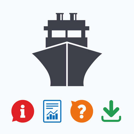 shipping: Ship or boat sign icon. Shipping delivery symbol. Information think bubble, question mark, download and report.