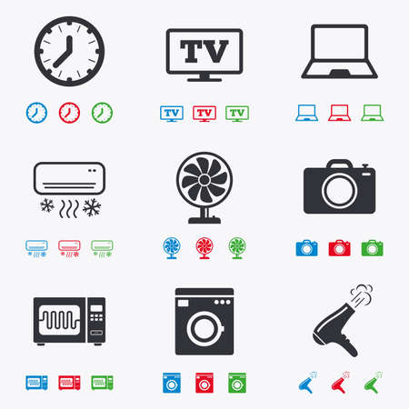 black appliances: Home appliances, device icons. Electronics signs. Air conditioning, washing machine and microwave oven symbols. Flat black, red, blue and green icons.