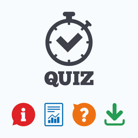 stopwatch: Quiz timer sign icon. Questions and answers game symbol. Information think bubble, question mark, download and report. Illustration