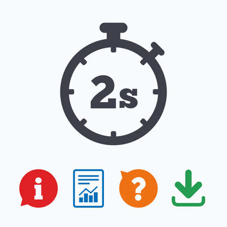 seconds: Timer 2 seconds sign icon. Stopwatch symbol. Information think bubble, question mark, download and report.