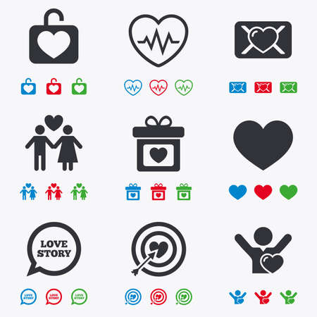 oath: Love, valentine day icons. Target with heart, oath letter and locker symbols. Couple lovers, heartbeat signs. Flat black, red, blue and green icons.