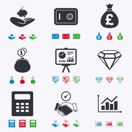 caja fuerte: Dinero, efectivo y finanzas iconos. signos apret�n de manos, seguras y calculadora. Tabla, seguras y joyer�a s�mbolos. iconos negros, rojos, azules y verdes planas.