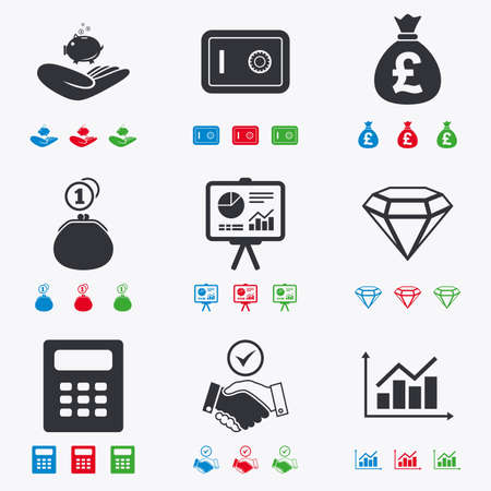 safe: Money, cash and finance icons. Handshake, safe and calculator signs. Chart, safe and jewelry symbols. Flat black, red, blue and green icons. Illustration