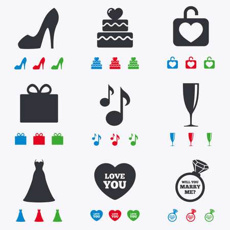 fiance: Wedding, engagement icons. Cake with heart, gift box and brilliant signs. Dress, shoes and musical notes symbols. Flat black, red, blue and green icons.