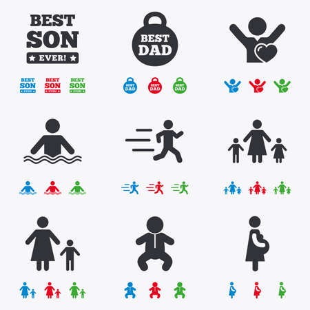 pregnant black woman: People, family icons. Swimming, baby and pregnant woman signs. Best dad, runner and fan symbols. Flat black, red, blue and green icons. Illustration