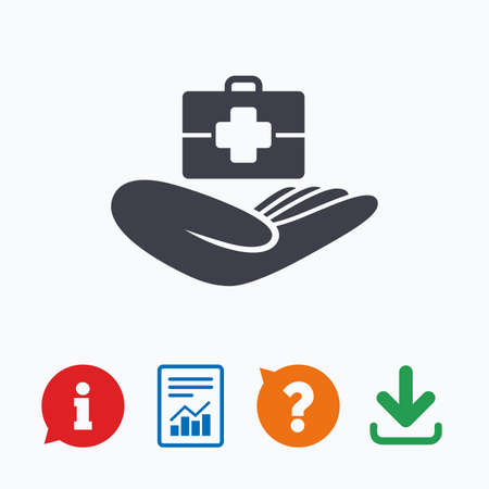 medical case: Medical insurance sign icon. Health insurance. Doctor case. Information think bubble, question mark, download and report.