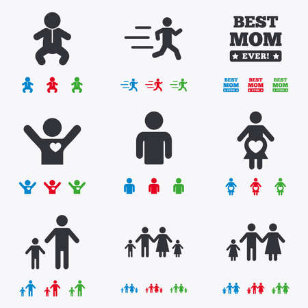 maternity: People, family icons. Maternity, person and baby signs. Best mom, father and mother symbols. Flat black, red, blue and green icons.