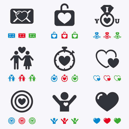 oath: Love, valentine day icons. Target with heart, oath letter and locker symbols. Couple lovers, boyfriend signs. Flat black, red, blue and green icons. Illustration