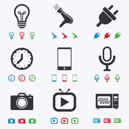 electrical plug: Home appliances, device icons. Electronics signs. Lamp, electrical plug and photo camera symbols. Flat black, red, blue and green icons. Illustration