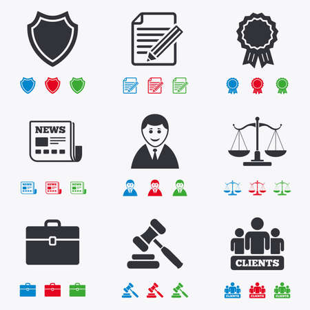 auction: Lawyer, scales of justice icons. Clients, auction hammer and law judge symbols. Newspaper, award and agreement document signs. Flat black, red, blue and green icons. Illustration