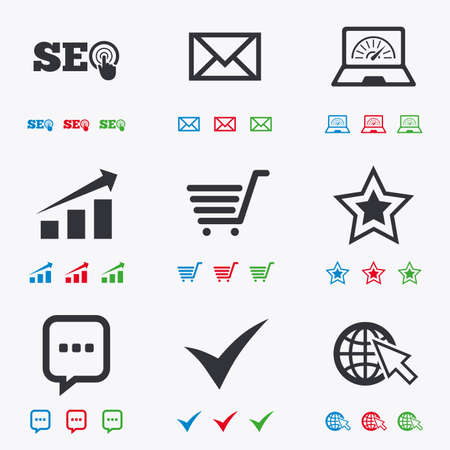 bandwidth: Internet, seo icons. Tick, online shopping and chart signs. Bandwidth, mobile device and chat symbols. Flat black, red, blue and green icons. Illustration
