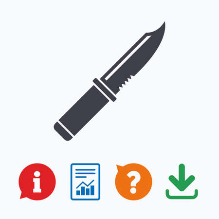 stab: Knife sign icon. Edged weapons symbol. Stab or cut. Hunting equipment. Information think bubble, question mark, download and report.