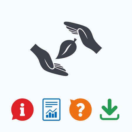 think safety: Protection of nature sign icon. Environmental protection symbol. Hands protect cover leaf icon. Information think bubble, question mark, download and report.