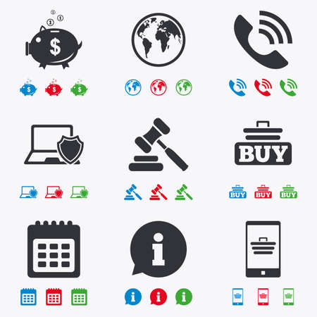 auction: Online shopping, e-commerce and business icons. Auction, phone call and information signs. Piggy bank, calendar and smartphone symbols. Flat black, red, blue and green icons. Illustration