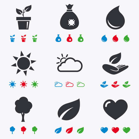 humus: Garden sprout, leaf icons. Nature and weather signs. Sun, cloud and tree symbols. Flat black, red, blue and green icons. Illustration