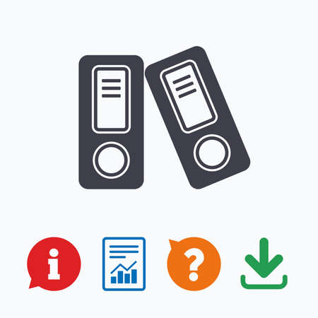 bookkeeping: Document folder sign. Accounting binder symbol. Bookkeeping management. Information think bubble, question mark, download and report.