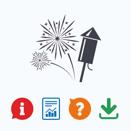 explosive sign: Fireworks with rocket sign icon. Explosive pyrotechnic symbol. Information think bubble, question mark, download and report.