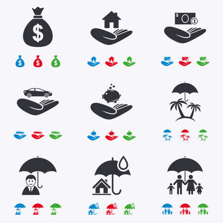 black family: Insurance icons. Life, Real estate and House signs. Money bag, family and travel symbols. Flat black, red, blue and green icons. Illustration