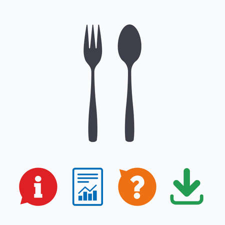 dessert fork: Eat sign icon. Cutlery symbol. Dessert fork and teaspoon. Information think bubble, question mark, download and report. Illustration