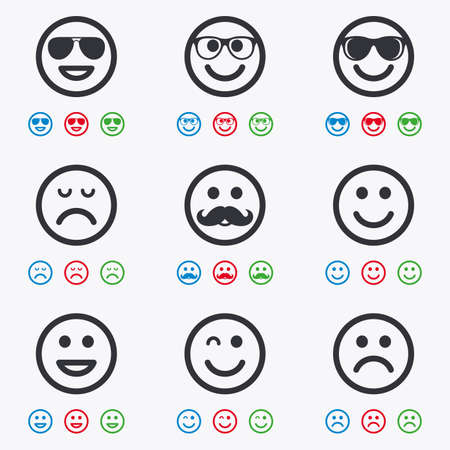 wink: Smile icons. Happy, sad and wink faces signs. Sunglasses, mustache and laughing lol smiley symbols. Flat black, red, blue and green icons. Illustration