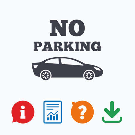 private information: No parking sign icon. Private territory symbol. Information think bubble, question mark, download and report.