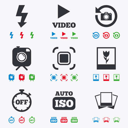 auto focus: Photo, video icons. Camera, photos and frame signs. Flash, timer and macro symbols. Flat black, red, blue and green icons.