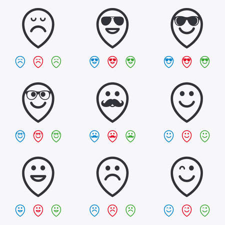 wink: Smile pointers icons. Happy, sad and wink faces signs. Sunglasses, mustache and laughing lol smiley symbols. Flat black, red, blue and green icons. Illustration