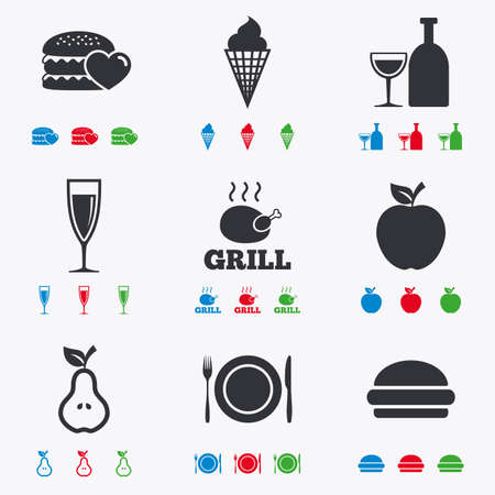 Food, drink icons. Grill, burger and ice cream signs. Chicken, champagne and apple symbols. Flat black, red, blue and green icons.