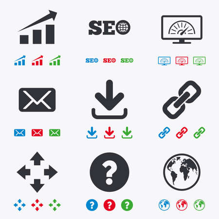 Internet, seo icons. Bandwidth speed, download arrow and mail signs. Hyperlink, monitoring symbols. Flat black, red, blue and green icons. Illustration