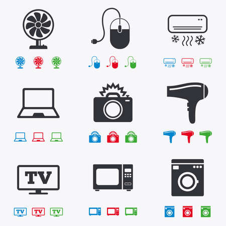 black appliances: Home appliances, device icons. Electronics signs. Air conditioning, washing machine and ventilator symbols. Flat black, red, blue and green icons.