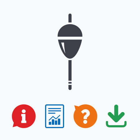 fishing bobber: Fishing sign icon. Float bobber symbol. Fishing tackle. Information think bubble, question mark, download and report.