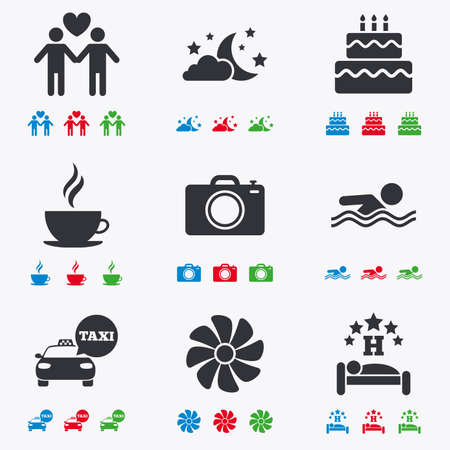 sleeping car: Hotel, apartment service icons. Swimming pool. Ventilation, birthday party and gay-friendly symbols. Flat black, red, blue and green icons.