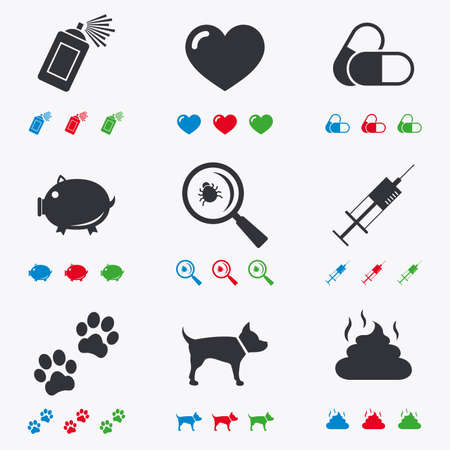 feces: Veterinary, pets icons. Dog paws, syringe and magnifier signs. Pills, heart and feces symbols. Flat black, red, blue and green icons.
