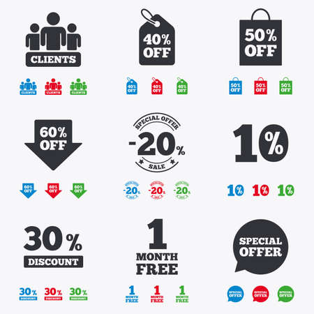 30 to 40: Sale discounts icon. Shopping, clients and speech bubble signs. 20, 30, 40 and 50 percent off. Special offer symbols. Flat black, red, blue and green icons. Illustration
